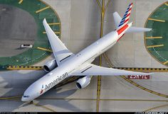 A birds eye view of an American Airlines 773ER taxiing at LAX