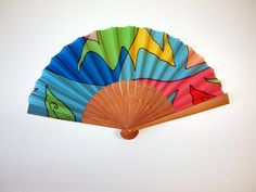 Handpainted Silk hand fan-Wedding hand fan-Giveaways-Bridesmaids-Spanish hand fan-Blue-green hand fan-14 x 7.5 inches (35 cm x 19 cm) de gilbea en Etsy