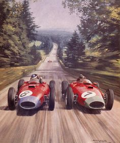 """Carter Collectables on Twitter: """"Mike Hawthorn and Peter Collins - 1957 Ferraris by Michael Turner, Thoroughbred & Classic Cars, 1991. http://t.co/HpwSuU8RNg"""""""