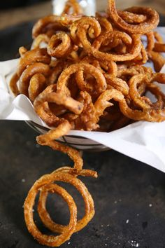 Beer-Battered Curly Fries - flour, beer, potato