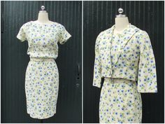 A FINE VINTAGE Vintage 1950's Floral 2 Piece Wiggle Dress and Bolero Jacket | Daytime Office | Size Extra Small