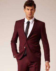 SKU#VT6740 Mens 2 Button Style Suit Burgundy flat front pants $179 Fashion Color Suits Burgundy Suits