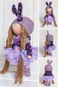 Bunny doll Cloth doll Fabric doll Interior doll Handmade doll Textile doll Tilda doll Violet doll Rag doll Art doll Winter doll
