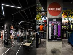In the middle of the store a huge box was erected, covered in stretched metal sheet and sliding plexiglass panels, to host the shoe universe, a dedicated area paved in asphalt-like resin.