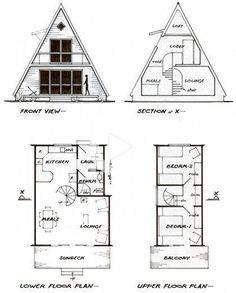 A-frame cottage plans for a guest house/ temp house house conversion house ideas house interior house interior floor plans house interior small house plans Tiny House Cabin, Tiny House Design, Cabin Homes, Small House Plans, Tiny Houses, A Frame Cabin Plans, Cabin Floor Plans, A Frame Floor Plans, Triangle House