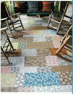 Mosaic tile quilt floor