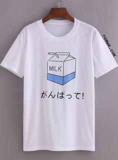 White Milk Print T-shirt