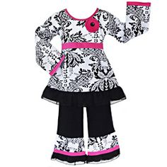 @Overstock - This cute two-piece outfit for girls from AnnLoren arrives with a damask print top accented with a pink flower applique and sash tie at the waist. The black, ruffle-trimmed pants are finished with an elastic waist for easy wear and comfort.http://www.overstock.com/Clothing-Shoes/AnnLoren-Girls-2-piece-Damask-Tulle-Outfit/6816500/product.html?CID=214117 $27.99