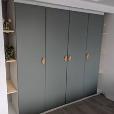 built in Pax wardrobe. Reinsvoll grey/green door, bamboo nobs, track lighting You are in the right place about entrance entryway Here we offer you the most beautiful pictures about the house entrance Ikea Wardrobe Storage, Bedroom Built In Wardrobe, Bedroom Closet Doors, Ikea Closet, Wardrobe Furniture, Diy Wardrobe, Sliding Wardrobe, Hall Wardrobe, Closet Wall