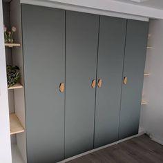Handles - built in Pax wardrobe. Reinsvoll grey/green door, bamboo nobs, track lighting