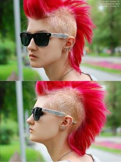 Mohawk hairstyle : Hair that is shaved or buzzed on the sides leaving a strip of hair in the middle. It is often spiked up. (Patricia Andriani FD1A1)