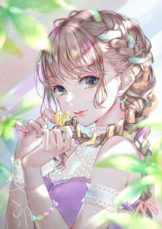 Anime picture original lma long hair single tall image blush looking at viewer fringe breasts blue eyes brown hair bare shoulders standing signed payot braid (braids) upper body lips nail polish blunt bangs 596510 en Cool Anime Girl, Pretty Anime Girl, Beautiful Anime Girl, Kawaii Anime Girl, Anime Art Girl, Manga Girl, Anime Girls, Sad Anime, Anime Neko