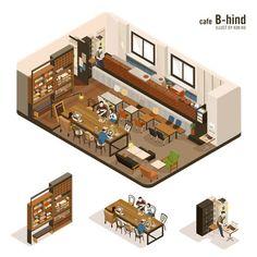 Cafe B-hind by 김호 on Grafolio Cafe Interior Design, Cafe Design, Store Design, Layout Design, Pet Cafe, Laundry Shop, Isometric Design, Isometric Sketch, Cafe Restaurant