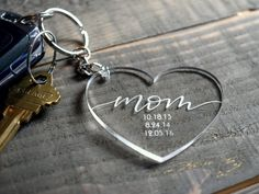 Personalised Gifts Ideas : Personalized mom since key chain with dates ❤ laser engraved clear acrylic Stylo Laser, Mother Day Gifts, Gifts For Mom, Trotec Laser, 3d Laser Printer, Acrylic Keychains, Laser Cutter Projects, Keychain Design, Diy Resin Crafts