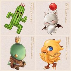 Cactus, Moogle, Tonberry, Chocobo. Final Fantasy.