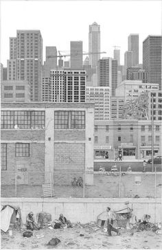 Artist Ben Tolman Creates Intricate, Dark Drawings About Cities, Suburbia, and the Built Environment - CityLab Dark Drawings, Detailed Drawings, Scale Drawings, Washington Dc, Illustrations, Illustration Art, Architecture Sketchbook, Museum, Built Environment