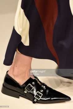 A model, shoe detail, walks the runway at Victoria Beckham show during New York Fashion Week on February 12, 2017 in New York City. (Photo by Peter White/Getty Images)