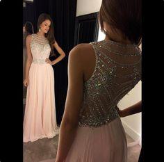 APD1624 A-line Beaded Bodice Illusion neck Chiffon prom