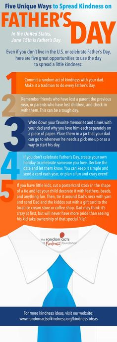 Fathers_day - Five unique ways to spread kindness on Father's Day from http://www.randomactsofkindness.org/the-kindness-blog/2878-  http://www.randomactsofkindness.org/the-kindness-blog/ #RAOK #fathersday #kindness #randomacts