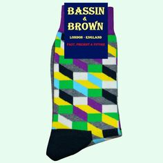 A thoughtful men's gift for a Birthday, Wedding or Fathers Day. Bassin and Brown for colourful contemporary socks. Purple And Black, Green And Grey, Multi Coloured Socks, Brown Socks, Colorful Socks, Fashion Socks, Cotton Socks, Bars For Home, Lapel Pins