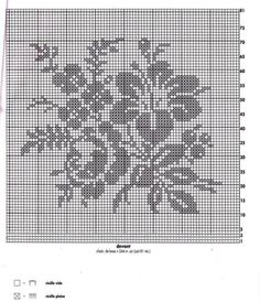 filet crochet lace squares - dogwood and roses Filet Crochet Charts, Crochet Diagram, Cross Stitch Charts, Cross Stitch Designs, Cross Stitch Embroidery, Cross Stitch Patterns, Free Crochet, Crochet Lace Edging, Crochet Squares