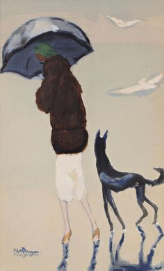 Kees van Dongen「Woman with a dog walking on the beach」(1937)