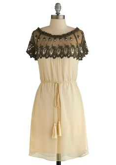 Renewed Romance Dress. Reopen the door to truly enchanting fashion with this swoon-worthy Ryu dress. #cream #modcloth