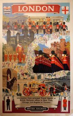 London British Railways, 1950s - original vintage travel destination poster by Blake