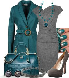 "I must have this coat! ""Teal & Gray"" by gangdise on Polyvore - Gray dress, gray heels, teal trench coat, teal leather handbag - Cute, and so put together! #purse #shoes"