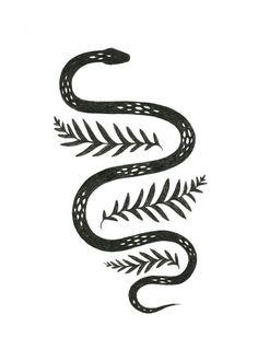 Snake & Fern illustration by Lauren Blair #Piercings