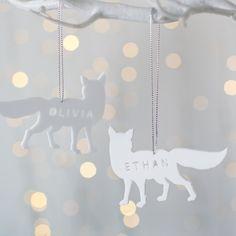 Personalised Arctic Fox Christmas Decoration