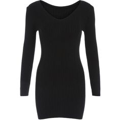 V Neck Tight Sweater Dress ($15) ❤ liked on Polyvore featuring dresses, black, black v neck dress, short dresses, long sleeve v neck dress, black dress and sheath dress