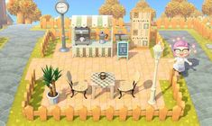 [Happy Island Designer Try the alpha version of my island map editor webapp! Animal Crossing Qr, Animal Crossing Pocket Camp, Motif Acnl, Outdoor Cafe, Island Design, Cafe Design, New Leaf, Alien Logo, My Animal