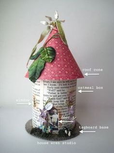 fairy house from oatmeal container, scrapbooking paper and decorations