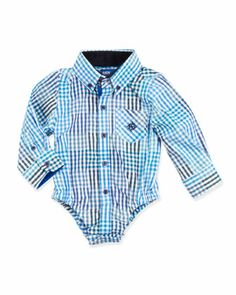 Multi-Check Shirtzie, Bright Blue, 3-24 Months  by Andy & Evan at Neiman Marcus.