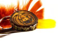 JackOLantern Wood Burned Keychain Halloween Pumpkin by LadyDryad