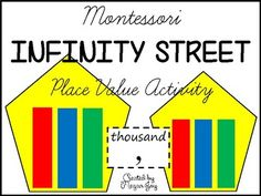 Montessori Infinity Street Place Value Activity with Recording Sheets This resource includes the houses, people, and mailboxes for the Montessori Infinity Street lesson on place value from thousands through decillions. Infinity Street Story: Each number