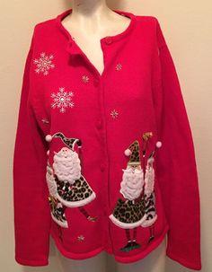 Crystal Kobe Ugly Christmas Sweater Large Mr & Mrs Claus Snowflakes  #CrystalKobe #Cardigan
