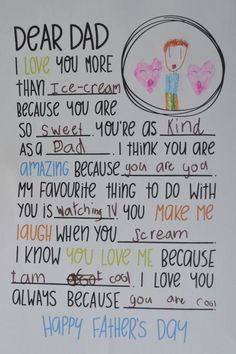 Dear Dad Letter – Fill in the Blanks – Great for Father's Day – Abiball Abschlussfeier Baby Shower Erntedankfest (Thanksgiving) Geburtstag Geschenk korb Cadeau Parents, Daddy Day, Daddy Daughter, Daughter Quotes, Dear Dad, Father's Day Diy, Daddy Gifts, Girl Gifts, Diy Father's Day Gifts For Grandpa