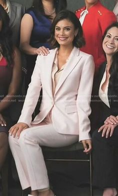Cristal's pink bird print blouse and blazer on Dynasty.  Outfit Details: https://wornontv.net/83572/ #Dynasty