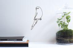 Little Budgerigar - black wire bird sculpture. Bird Sculpture, Modern Sculpture, Wire Wall Art, Parrot Pet, Clinic Design, Magnolia Flower, Budgies, Minimalist Art, Handmade Flowers