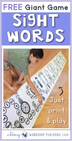 Print and play this giant never ending game board to practice sight words! (free download)