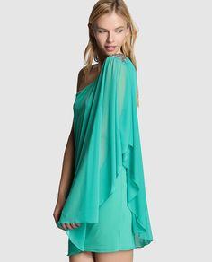 Vestido asimétrico de mujer Fórmula Joven en verde