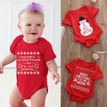 Newborn Baby Kids Snowmen Clothes My First Christmas Bodysuits Red Cotton Jumpsuit Outfits Baby Boys Girls Costume(China (Mainland))