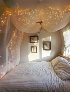 Using a dowel and some sheer curtain paneling, attach the canopy to the ceiling with thumbtacks if your school allows it. This creates a elegant little hideaway