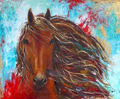 """Original horse painting by Isabelle Berard / Chinook / Portrait 20"""" X 24"""" de la boutique ArtStudioIsabelle sur Etsy"""