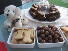 Doggie biscuits, Maltesers and chocolate brownies - perfect treats for a puppy party