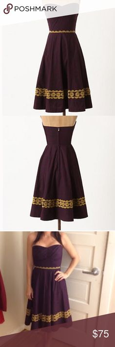 Anthropologie purple embroidered strapless dress Beautiful strapless dress from Anthropolgie brand 'Girls from Savoy'  Gorgeous subtle navy pattern on purple dress with yellow embroidery details. Very gently worn, in excellent condition. Anthropologie Dresses Strapless