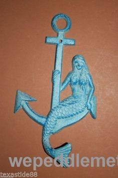 Aqua Mermaid Sitting On Anchor Wall Hook, Cast Iron, 9 inches, (N) 15