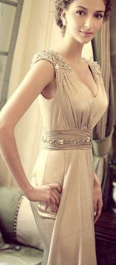Romantic Simple Wedding dress / Bridesmaid dress. $280.00, via Etsy.